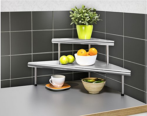 eckregale kueche WENKO 2045030500 Küchen-Eckregal Massivo Duo mit 2 Ablagen, Edelstahl rostfrei, 48.5 x 31 x 48.5 cm, Silber
