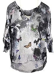 Damen Tunika Bluse, 2-teilig mit Top, Batik Print, Seide-Mischung, Vokuhila, MADE IN ITALY