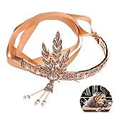 Beito Frauen 1920er Jahren große Gatsby Vintage Style Crown Kristall-Perlen-Kronen-Brautstirnband für Hochzeit Cosplay - Rose Gold