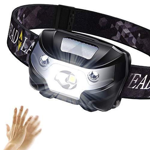 TINMIU proiettore USB Ricaricabile a LED Faro Testa della Torcia con sensore Intelligente Impermeabile IPX4Fascia per Campeggio Pesca Ciclismo Escursionismo Caccia, Nero