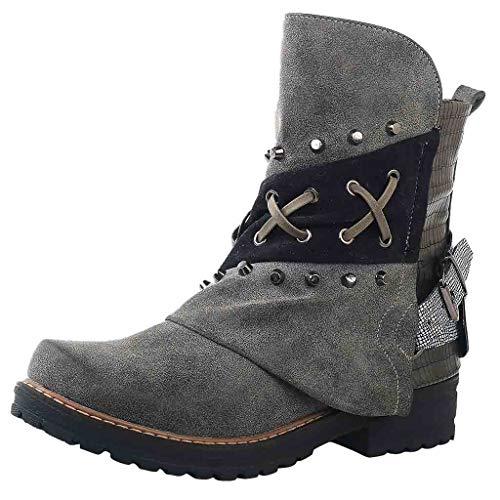 Xuthuly Damen Vintage Patchwork Niet Large Size Side Zipper Ankle Boots Damen Casual Bequem Low-Heel Single Schuhe Kurze Outdoor-Schuhe (Jungen Kurze Low Rise)