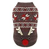 NYJ Haustier Kleidung, Weihnachtsgeschenk Katze Hund Pullover Kostüm Schneeflocke Elch Muster Jacke Overall Welpen Kleidung (Farbe : Brown, größe : XL)