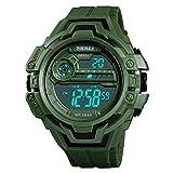 FeiWen Herren und Jugend Groß Kunststoff Digitale Uhren mit Kautschuk Band 50M Wasserdicht Multifunktional Outdoor Sportuhr Doppelte Zeit Militär LED Armbanduhren (Grün)