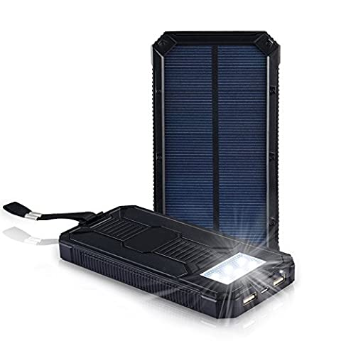 UrChoiceLtd® Hedelong 20000mAh Rechargeable Slim Light Potable Solar Charger Rain-Resistant Shockproof, Design for Outdoor, Vovage, Dual USB output Power Bank for iPhone, iPod, iPad, Samsung, HTC, GPS & Gopro Camera ect (Black)