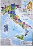 Close Up Mappa Italia Fisico Politico Karte von Italien (61cm x 91,5cm) + 2 St. transparente Posterleisten mit Aufhängung