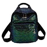 iHAZA Frauen reisen Schulter Tasche Mädchen Pailletten Volltonfarbe Schule Tasche Rucksack Satchel