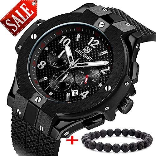 Megir Herren Uhren Luxus All Black Militär Armbanduhr mit Schwarz Silikonarmband Groß Chronograph Kalender Wasserdicht XL