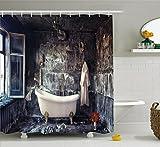 Abakuhaus Duschvorhang, Badewanne im Alten Zimmer Badezimmer Frische Blumenstrauß in Vase Viktorianischen Retro Stil, Blickdicht aus Stoff inkl. 12 Ringe für Das Badezimmer Waschbar, 175 X 200 cm