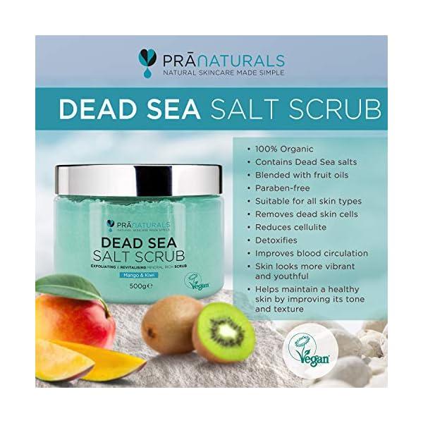 PraNaturals Exfoliante Corporal de Sal del Mar Muerto Mezclado con Aceites de Mango y Kiwi 500g 100% Body Scrub de Sales…