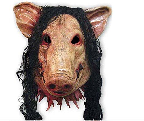 PIG SCHWEINE MASKE JIGSAW SAW Puppet Latex Maske Kunsthaar Halloween Karneval Horror Einheitsgröße thematys®