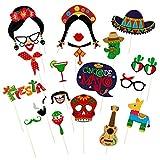Amosfun Fiesta Rifornimenti del Partito Fiesta Foto Puntelli Fiesta Messicana Photo Booth Puntelli Cinco de Mayo Fiesta Photo Booth Puntelli rifornimenti del Partito Messicano 20 PZ