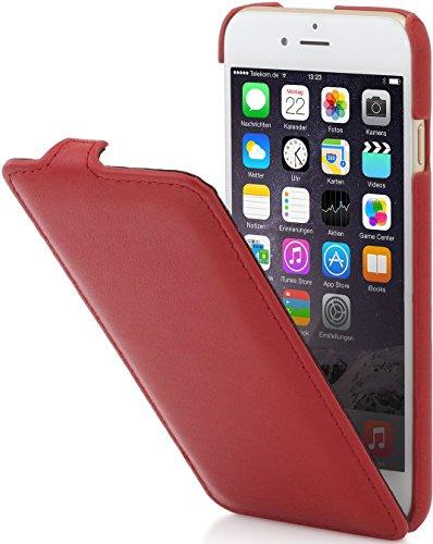 StilGut, housse UltraSlim en cuir pour l'iPhone 6 & iPhone 6s (4.7 pouces), en bleu marine Rouge nappa