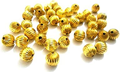Am Goelx Acrylic Metal Finish Gold Beads For Jewellery Making
