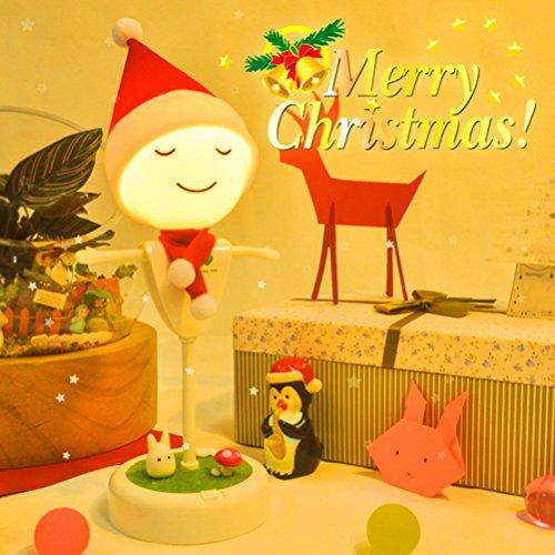WYCY Flexible Twist Vogelscheuche Nachtlicht Kinder LED Lampe Weiche Licht Nachttisch Lampe Vibration Sensor 2 USB Schnittstelle für Telefon Aufladen (weiße weihnachten version)