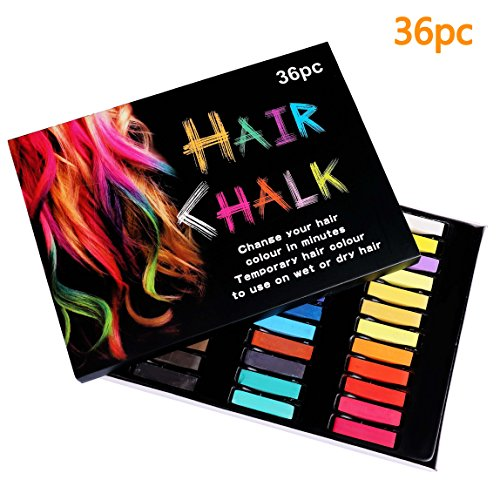 Temporäre Haarkreide,ISIYINER Haarkreide-Set, mit 36 Farben für Karneval, Halloween, Partys, Temporary Hair Color, temporäre Haarfarbe, Haar Colorationen Tönungen,ungiftig, auswaschbar, Pastellfarben