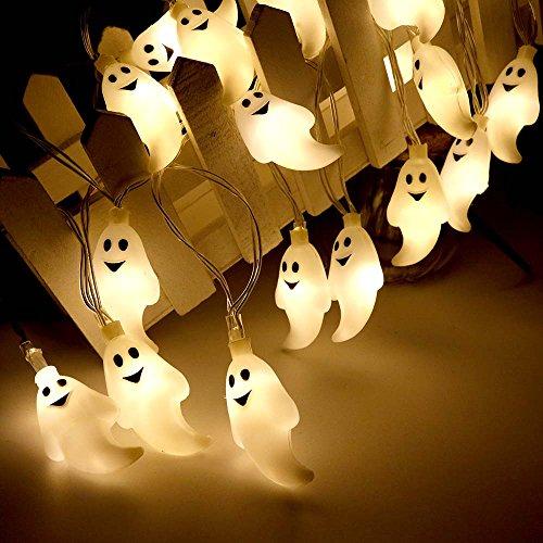 Halloween Lichterkette LED Schnurlicht 30 LEDs Kürbis Geist Licht für Außen Weihnachten Halloween Party Park Fest Deko (Warmweiß)