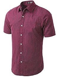Allegra K Christmas Men Short Sleeves Dots allover Print Cotton Button Down Shirt