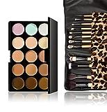 JasCherry 12 Stück Make Up Pinsel + 15 Farben Concealer Abdeckcreme Camouflage Palette Cover Abdeck Makeup
