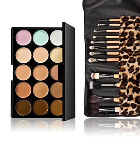 Gracelaza 12 Pcs Pinceaux Maquillage Trousse, 15 Couleurs Palette de Maquillage Correcteur Camouflage Crème Cosmétique Set
