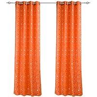 Vienen 2, Visillos Bordados de Dos Capas, Cortinas Translúcidas de Ojales para Ventanas de Salón Dormitorio Habitación, 140x260cm, Envío Rápido en 1-2 Día, Color Naranja