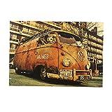 PU Ran vintage Poster Vieux de voiture Bus Poisson Cafe sans cadre Peinture murale Art Home Bar Decor