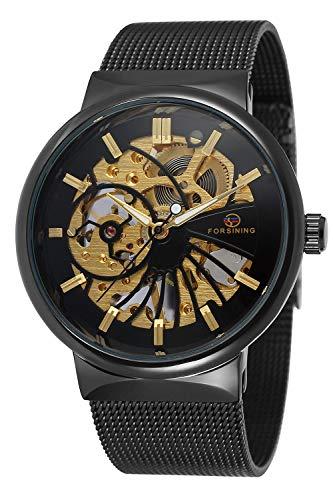 Gute Hand Wind Reloj de Pulsera mecánico para Hombre Negro Acero Inoxidable Casual Reloj Impermeable Casual Luminoso diseño Simple Moda clásico (Negro)