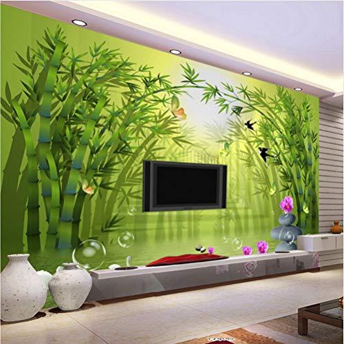 Mznm Custom Wandbild Tapete Rolle 3D Stereoscopic Bambus grün Forest TV Hintergrund Wandbild Vlies Stroh Strukturtapete, 400x280cm