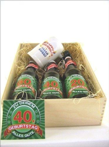 Bier Präsentkiste gef. mit 3 Fl. Bier und 1 Bierkrug a' 0,5 ltr Flasche zum 40. Geburtstag