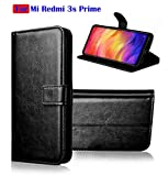 Fengshui Vintage Flip Cover Leather Case : Inner TPU, Leather Wallet Stand for Mi Redmi 3s Prime - Attractive Black
