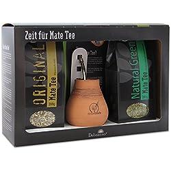 Delicatino Mate Geschenkset Original, Becher Bombilla 17 cm, Keramik/Edelstahl, Schwarz, 11 x 31 x 20 cm