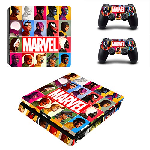 Decal Moments PS4 Slim Konsolen-Aufkleber für Playstation 4 Slim Konsole Dualshock 2 Controller Marvel Comic (nur PS4 Slim)
