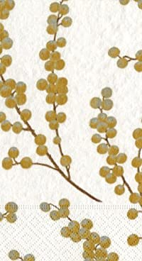 Entertaining with Caspari Berry Branches Paper Guest Towels, White and Gold, Pack of 15