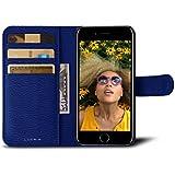 Lucrin - iPhone 7-Hülle im Brieftaschenformat - Azurblau - Ziegenleder