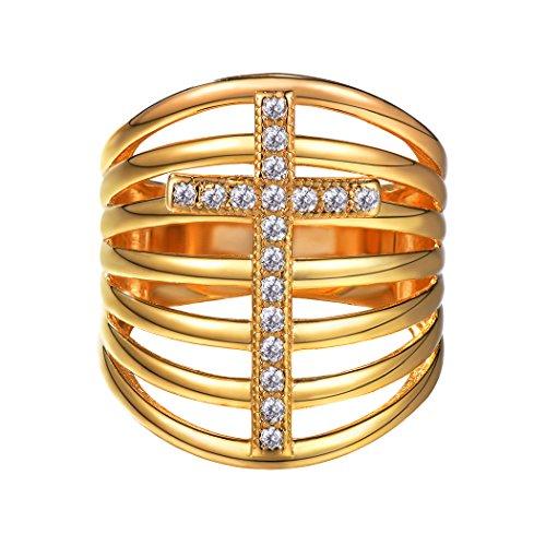 Suplight grandi anelli cristalli bianchi gioielli trasversali con zirconi cubici oro / platino placcato impilabile-in-uno anello fedi nuziali di fidanzamento regali per le donne ragazze coppie