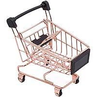 LnLyin Mini carrito de la compra Supermarket Carro de mano Decoración de escritorio juguete de almacenamiento mascota pájaro loro Hamster juguete, hierro, oro rosa, talla única