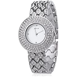 Leopard Shop WEIQIN W4243 Female Quartz Watch Stainless Steel Band Wristwatch Artificial Crystal Diamond Dial #1