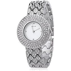 Leopard Shop WEIQIN W4243 Female Quartz Watch Stainless Steel Band Wristwatch Artificial Crystal Diamond Dial #1