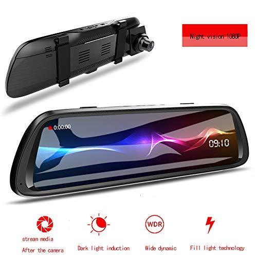 10 pollici Touch Screen Doppio Dash Cam frontale Rear Video Streaming Rear View Mirror Camera Car L'obiettivo Grandangolo anteriore Telecamera posteriore impermeabile Reverse Monitor di sistema