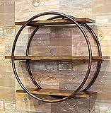 Gbf Wall Round Display Racks/Racks Runde Wandhalterungen, Metall Ironwood Bar Wohnzimmer | Loft Massivholz Bücherregal Schlafzimmer Bücherregal Aufbewahrungsständer Kreativität (Color : Brass)