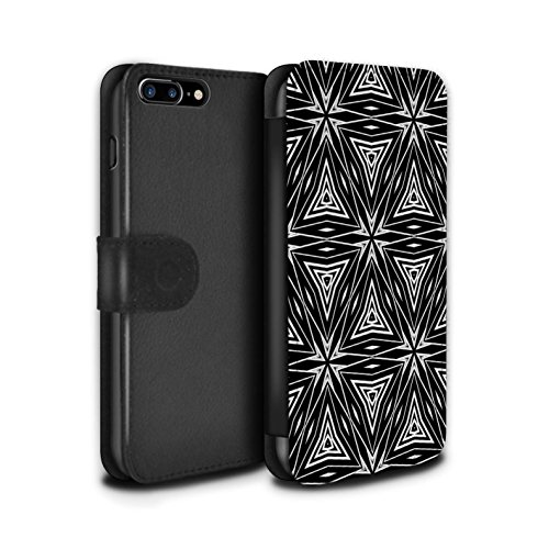 Stuff4 Coque/Etui/Housse Cuir PU Case/Cover pour Apple iPhone 7 Plus / Tourbillon/Cour Design / Mode Noir Collection Formes Abstraites