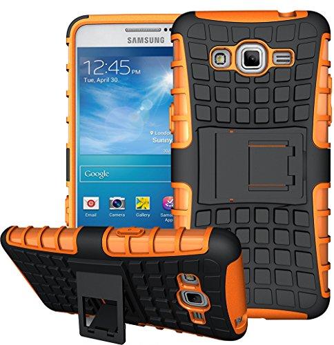 Nnopbeclik 2in1 Dual Layer Coque Samsung Galaxy Grand Prime Silicone [Neuf] [Armor Séries] Protectrice Fine Et Élégante Rigide Back Cover Incassable case pour Samsung Galaxy Grand Prime Coque 3D [SM-G530FZ] (5.0 Pouce) Protection Hybride en Mélange avec Béquille de Support Intégrée Housse Antiglisse Anti-Scratch Etui - [Orange]