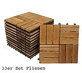 33er Spar-Set Holzfliese 02 für 3 m², Terrassenfliese aus Akazien-Holz, Fliese mit 12 Latten für Garten Terrasse Balkon, Balkon Bodenbelag mit Drainage-Unterkonstruktion für problemfreien Wasserablauf unter den Fliesen