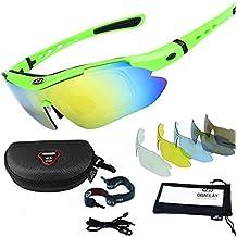 Sunglasses Sportswear, Sincewe Anti-UV 400 Wear Gafas de Sol con 5 Lentes Intercambiables, Hombre y Mujer A prueba de Viento Aviator Espejo para MTB, Bicicletas, Motos, Casual Trekking -Verde
