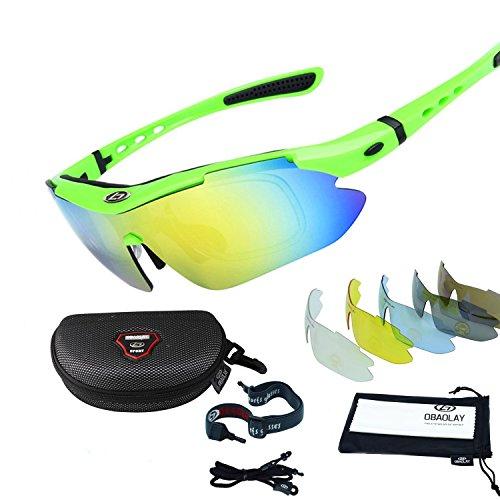 Occhiali da sole sportivi,sincewe anti-uv 400 protezione ciclismo occhiali da sole con 5 lenti intercambiabili,uomo e donna antivento aviatore specchio per mtb,bici,moto,trekking casual-verde
