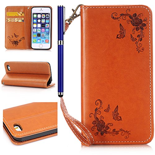 Custodia iPhone 5/5S/SE, FESELE - Lanyard Portafoglio Cover in [Pelle Pu Leather, TPU Interno] per iPhone 5/5S/SE,Nuovo Elegante Bella Sollievo Arts [Rose] Goffratura Motivo Custodia Motivo Wallet Pro Rosa,Marrone Puro