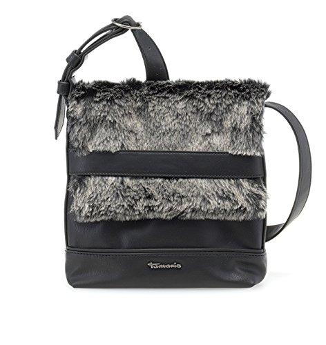 TAMARIS ANDIE Damen Handtasche, Crossbody Bag, Umhängetasche, 25x24x2 cm (B x H x T), Fellimitat, 3 Farben: braun comb., taupe comb. oder schwarz comb. schwarz comb