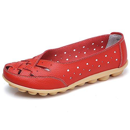 LILIHOT Damen Flache MüßIggäNger Damenschuhe Lady Flats Sandalen Leder KnöChel Casual Slipper Weiche Schuhe Mokassins Weiche Sohle Schuhe Zum Fahren Zu Fuß