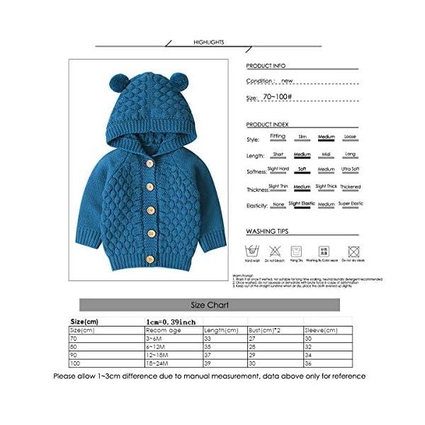 Borlai 3-24M Bebé De Punto De Abrigo Lindo Oído Con Capucha Suéter Chaqueta Casual Cardigan Outwear para Niño 5