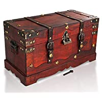 Brynnberg Pirate Treasure Chest Storage Box - Durable Wood & Metal Construction - Unique, Handmade Vintage Design With A Front Lock - Striking Decorative Element (15,5x 7,5x8,7inch)