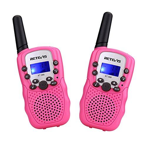 Retevis RT388 Kinder Walkie Talkies PMR446 8 Kanäle Kinder Funkgeräte mit Taschenlampe VOX Walkie Talkie Set Kinder Rosa Geschenke Spielzeug für Kinder (1 Paar, Rosa)
